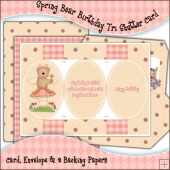 Spring Bear Birthday Tri Shutter Card, Envelope & Backing Papers