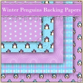 5 Winter Penguins Backing Papers Download (C206)