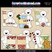 Stuffed Polar Bears Christmas Espresso ClipArt Collection