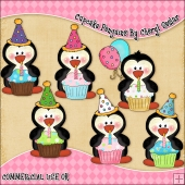 Cupcake Penguins ClipArt Graphic Collection