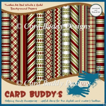 Twelve A4 Red White & Gold Background Papers – CU/PU