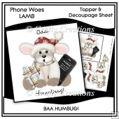 Phone Woes Topper & Decoupage Sheet - Baa Humbug