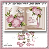 Cute Owl Open Book Birthday Card Front Or Topper
