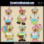 Stuffed Bears Birthday Cupcakes EXCLUSIVE ClipArt Collection