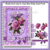 Roses And Lace In Lilac Bow Wrap Card Front