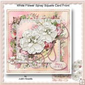 White Flower Spray Square Card Front