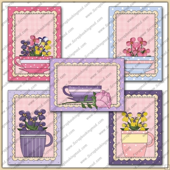 5 Pretty Teacup Quick Greeting Cards PDF Download