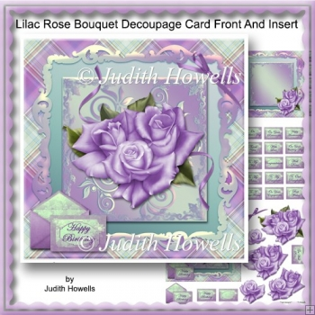 Lilac Rose Bouquet Decoupage Card Front And Insert