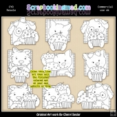 Doggy Squares Cupcakes Colour Your Own ClipArt RESALE SET