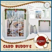Snowy Bridge Window 7x7 Shadow Box Fold Card