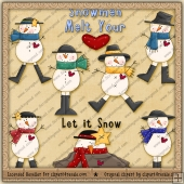 Snowman Melt Hearts ClipArt Graphic Collection