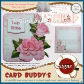 Pink Roses Decoupage Shaped Fold Card Kit
