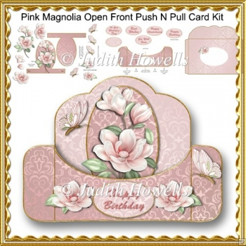 Pink Magnolia Open Front Push N Pull Card Kit