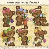 Cloey Bear Loves Flowers ClipArt Graphic Collection