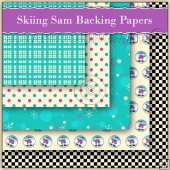 5 Skiing Sam Christmas Backing Papers Download (C180)