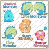 Cute Little Monsters ClipArt Graphic Collection