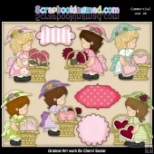 Annabelles Valentine Baskets ClipArt Collection