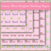 5 Pink Granny Mum & Daughter Backing Papers Download (C130)