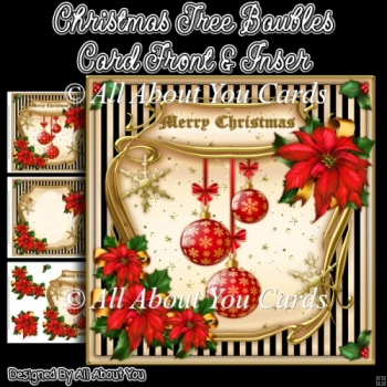 Christmas Baubles Card Front & Insert
