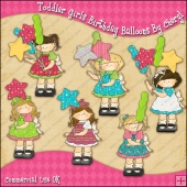 Toddler Girls Birthday Balloons ClipArt Graphic Collection