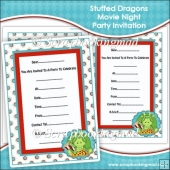 Stuffed Dragons Movie Night Party Invitations