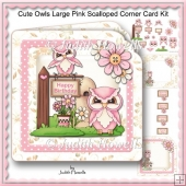 Cute Owls Large Pink Scalloped Corner Card Kit