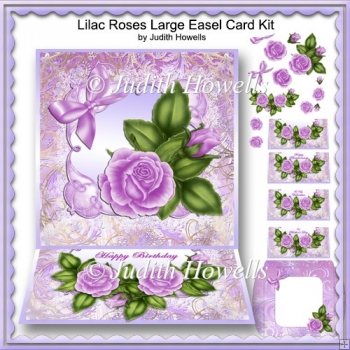 Lilac Roses Large Easel Card Kit