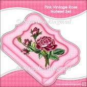 Red Vintage Rose Notelet Set