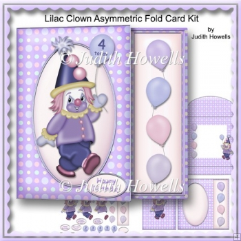 Lilac Clown Asymmetric Fold Card Kit