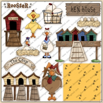 Old Hen House ClipArt Graphic Collection