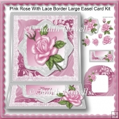 Pink Rose With Lace Border Large Easel Card Kit