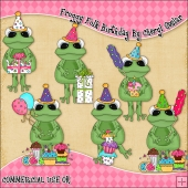 Froggy Folk Birthday ClipArt Graphic Collection