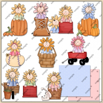 Sunflower Kids 2 ClipArt Graphic Collection