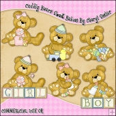 Cuddly Bears Sweet Babies ClipArt Graphic Collection