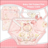 Baby Girl Tickled Pink Nappy Card