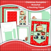 Christmas Bumpkins Waterfall Card, Envelope & Backing Papers
