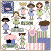 Little Miss Cup Cake ClipArt Graphic Collection 2