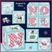 Four Polar Pals Noel Favour Boxes with freebie Place Mat