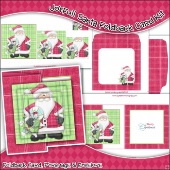 Joyfull Santa Foldback Card, Envelope & Backing Paper