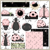 Pink Lady Bugs ClipArt Graphic Collection