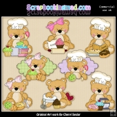 Sweet Stuffins Baking Bears ClipArt Collection