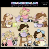 Madison and Molly Have A Tea Party ClipArt Graphic Collection