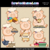 Baker Pigs ClipArt Graphic Collection