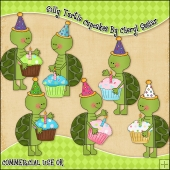 Silly Turtles Cupcakes ClipArt Graphic Collection