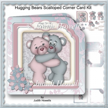 Hugging Bears Scalloped Corner Card Kit