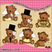 Tattered Teddies Wedding ClipArt Graphic Collection