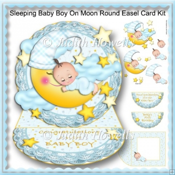 Sleeping Baby Boy On Moon Round Easel Card Kit