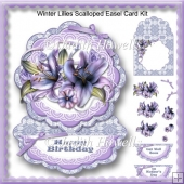 Winter Lilies Scalloped Easel Card Kit