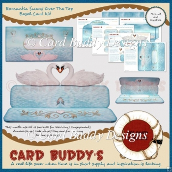 Romantic Swans Over The Top Easel Card Kit