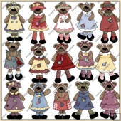 Teddy Bear Gals ClipArt Graphic Collection